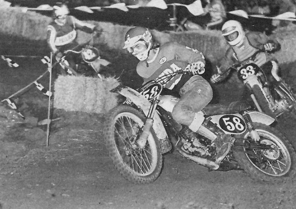 Marty Smith on a factory Honda RC125 followed by a lowly Kelly Owen on a Mettco Penton in the Superbowl 125 Final at the L.A. Colosseum.