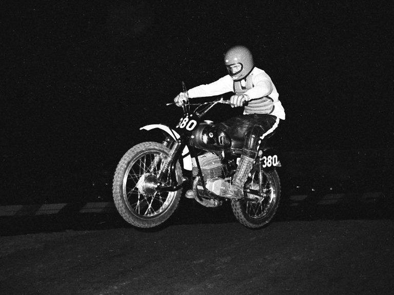 Mike Skelton on his DKW 125 at Irwindale Raceway 1972 (this is the DKW in the collection).