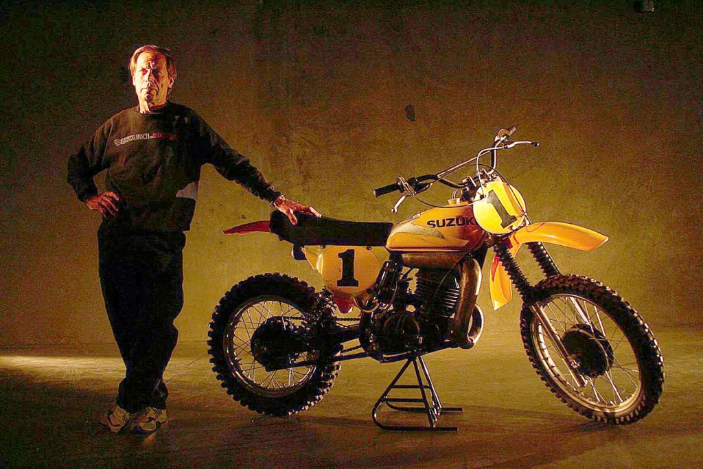 Roger DeCoster and his 1976 World Championship winning Suzuki RM 370.